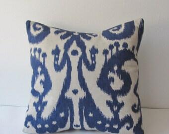Indigo Ikat Decorative Pillow Cover 16 18 20 22 24 26 Square Throw Pillow, Accent Pillow, Toss Pillow