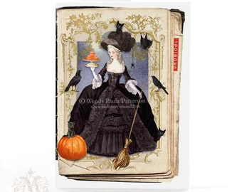 Marie Antoinette, witch, Halloween card, broomstick, bat, crow, pumpkin, black cats, pumkin macarons, vintage style, Gothic, greeting card