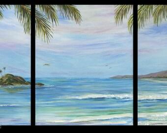 PARADISE HIDEAWAY Large 33x14 Triptych Original Oil Painting Art Artwork Tropical Palm Tree Ocean Hawaii Hawaiian Caribbean Tahiti