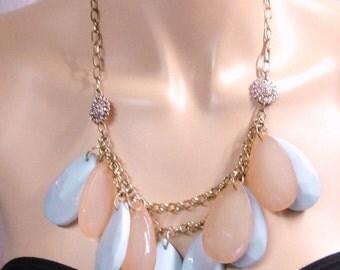Vintage Gold Tone Powder Blue Pale Pink Bobble Necklace