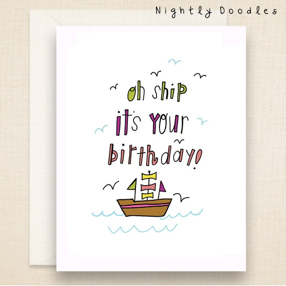 Punny Birthday Card Funny boat birthday greeting card