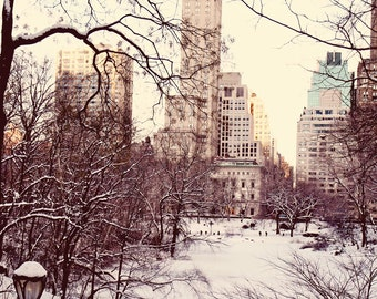 New York City Photography - Winter in New York Photo - Holiday Decor - Central Park in Snow - Manhattan Wall Art  Trees Architecture