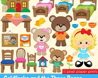 Goldilocks & The Three Bears - Clipart and Digital paper set