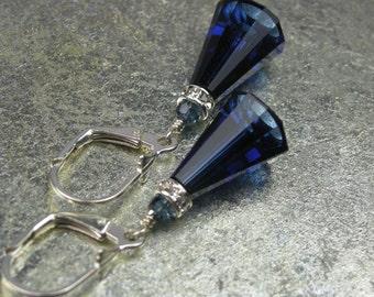 Dark Blue Crystal Earrings