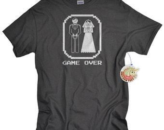 Bachelor Party Gifts Funny Wedding Groom Gift Game Over Bride and Groom Shirt Bachelor Tshirt T shirt for Groom to Be