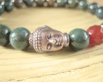 Buddha Bracelet - Bloodstone Bracelet with Faceted Carnelian Bead and Copper Buddha Head, Crystal Healing Bracelet for Health and Motivation