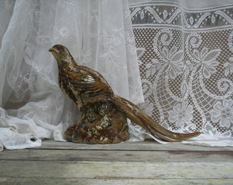 Ceramic Pheasant Statue Hand Painted Rusty and Gold Shabby Old World Chic Bird statue