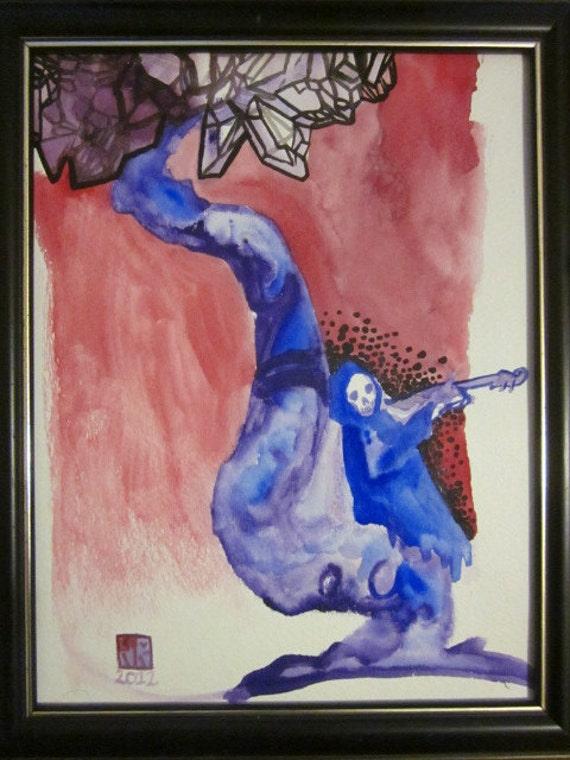 "Departure Song grim reaper art 10"" x 13"" framed watercolor"