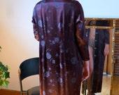 1930's Asian Art Deco Robe Aubergine & Blue Gray Jacquard Satin Full Length Silk Lined MINT