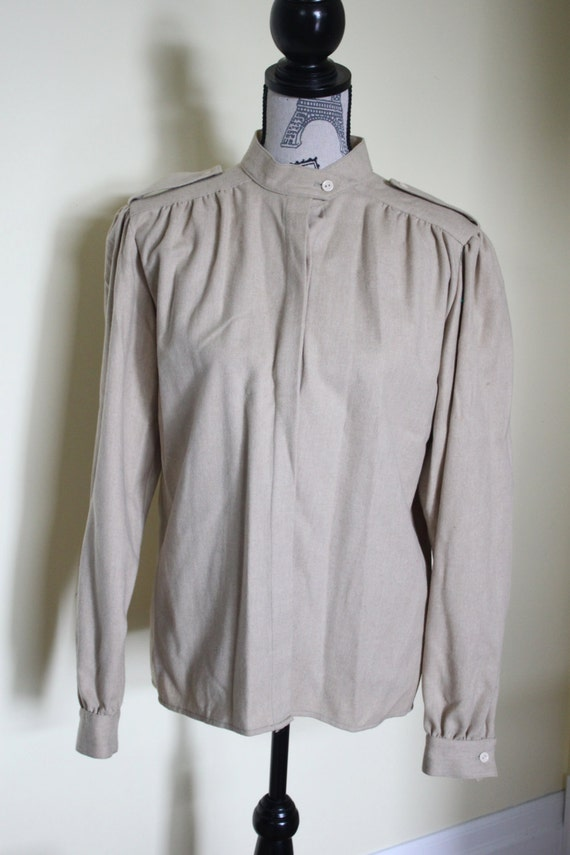 Wool Vintage Beige Button Down Blouse With By Stungvintage