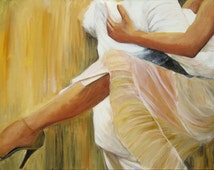 Tango painting dancing legs, Argentine tango art print on canvas, painting of leg of strong dancer in sheer white and gold dress size 24x36,