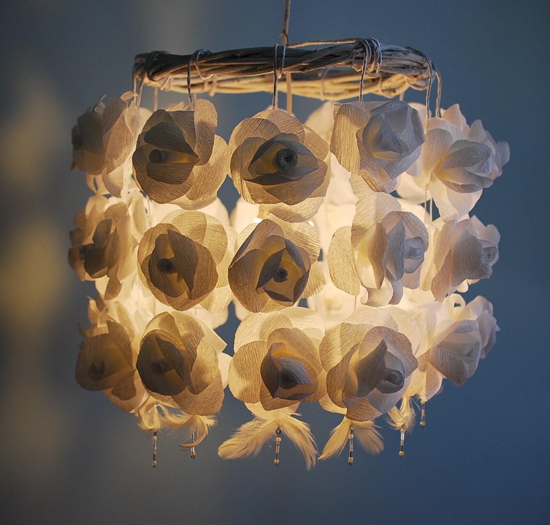 white roses paper chandelier handmade flower by dolchetodolche