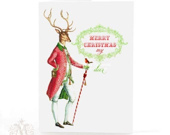 Deer, Christmas card,  holiday card, anthropomorphic stag, robin, red, green, candy cane, card for men, card for him, reindeer, antlers