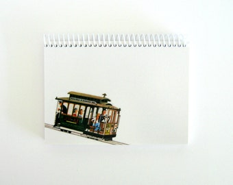 San Francisco City Trolley Writing Travel Journal Diary Spiral Bound, 5x7 Inches, A5 Sketch Notebook, Back to School, Mid Century Modern