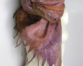Felted Scarf Shawl Cobweb Merino Soft Wool Silk Multicolor Brown Pink Purple Spring