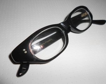 Cat Eye Glasses Black Frame French Vintage Chic Understated Sexy Original Mad Men Style Vintage Librarian