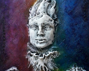Regal Jester. Inspirational Wall Sculpture by Fae Factory Artist Dr Franky Dolan (3D original clay relief & canvas painting 3D) {SEE VIDEO}