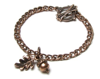 Acorn Bracelet, Fall Oak Leaf Bracelet, Woodland Gift For Women, Nature Inspired Jewelry, Antique Copper Metal Chain, Brown Autumn Leaves,