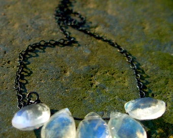 Moonstone Necklace, Moonstone and Blackened Sterling Silver Necklace/Cyber Monday