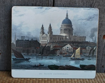 vintage hot pad / plate -  drawing of St. Paul's Cathedral, London