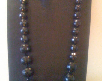 Kenneth Lane Necklace/ Kenneth Lane KJL/ Black Faceted Lucite Beaded Statement Necklace -Vintage Haute Couture