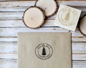 Wood Slice Stamp, Save the Date Stamp, Custom Rubber Stamp, Wedding Rubber Stamp, Tree Rubber Stamp, Personalized Rubber Stamp