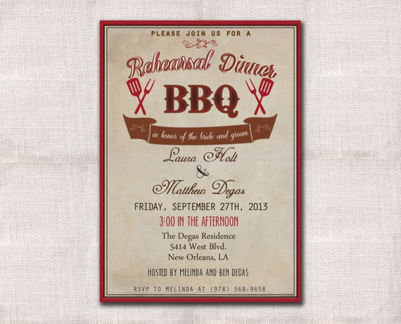 Who Is Invited To The Wedding Rehearsal Dinner: BBQ Wedding Rehearsal Dinner Invitation Custom Printable 5x7