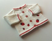 Ladybug jacket knit baby spring jacket white and red baby sweater MADE TO ORDER