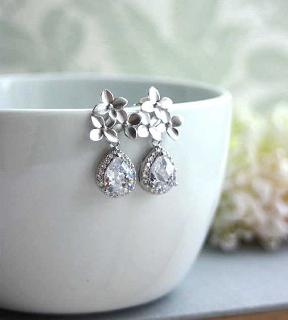 Silver Cherry Blossoms Earrings. Orchid Flower, Lux Silver Pear Cubic Zirconia Teardrop Ear Post Earrings. Bridesmaid Gifts, Bridal Wedding.