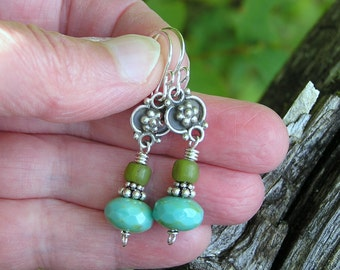 bohemian dangle earrings with czech glass, indonesian glass and sterling silver flower charm. blue green. hippie earrings.