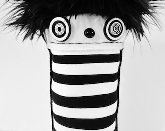 POLKADOTTYDOLL - Plush Art Doll Modern Black and White Stripe Crazy Art Doll Urban Art Soft Sculpture Plushie - LYNDA BLACK