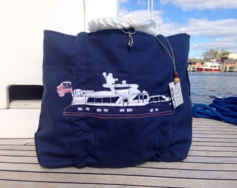 Yacht Beach Bag, Nautical Tote, Personalized Bag