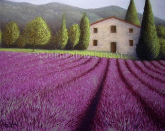 Lavender, lavender fields, lavender painting, lavender picture, Provencal Farmhouse - print from my original pastel painting.