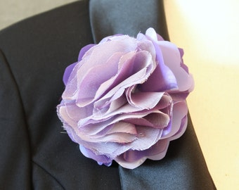 Lavender Shiny Plastic and Chiffon Flower Magnetic Pin