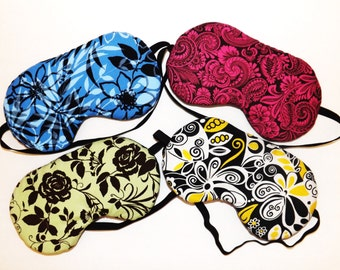 Sleep Mask - Comes as Shown in Blue, Pink, Green or Yellow - Handmade - Fits Kids to Adults