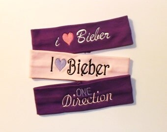 Clearance - I (heart) Bieber and One Direction - set of 3 Headbands - Comes as Shown
