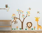 Safari Animal Tree Pack- Small- Reusable, Reposition, Wall decal, Children's room, Nursery decals, Giraffe, Lion, Monkey, choose color