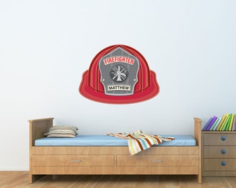 Firefighter Hat Personalized- Reusable fabric decals, self adhesive wall stickers, not vinyl, 2 sizes