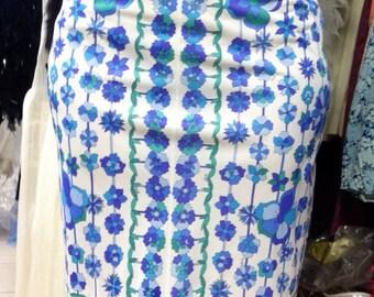 1960's GENUINE Emilio PUCCI, Border Print 1970's Vintage Slip, Skirt size Medium, EPFR