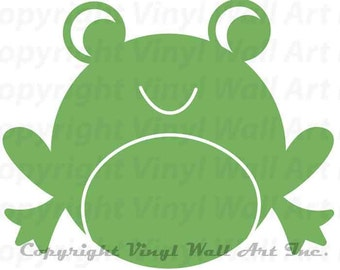 Frog Vinyl Wall Decal size LARGE - Children Decal, Bedroom Decor, Bathroom Decor, Home Decor, Little Boy Decal, Little Girl Decal