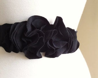 Black Cotton Sash Flower Petal Belt Accessory Bridesmaid sash long cotton sash dress accessories casual bride party dress - Made to Order