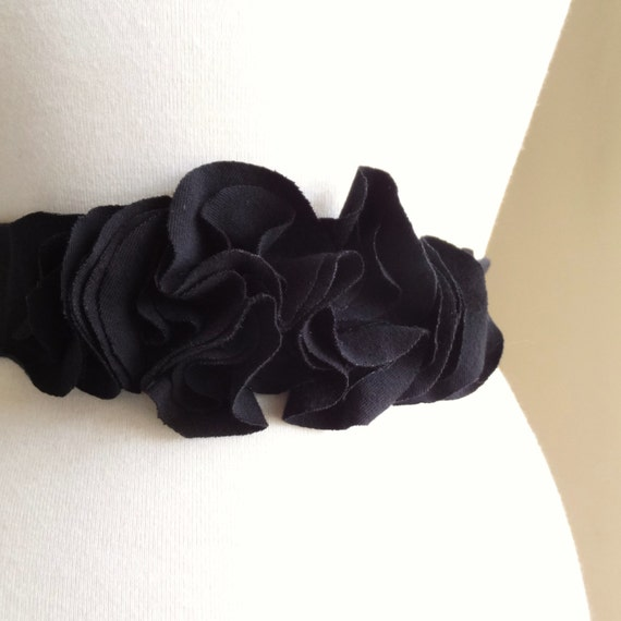 Black Cotton Sash Flower Petal Belt Accessory Bridesmaid sash long cotton sash dress accessories casual bride party dress - Made to Order