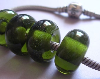 Lampwork Beads Green Handmade Glass Ericabeads Olive Green BHB European Charm Beads (4)