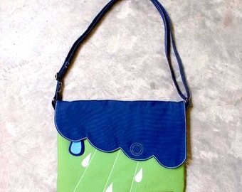 Raindrops Clouds Crossbody Bag - Blue Green Sling Purse - Cloudy Days Sling Bag - Rain Purse - Clouds Crossbody Sling - Scallop Details Bag