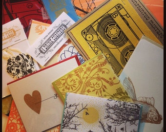 Super Surprise Mystery : 10 item grab bag - cards coasters prints bookmarks Gocco screenprint