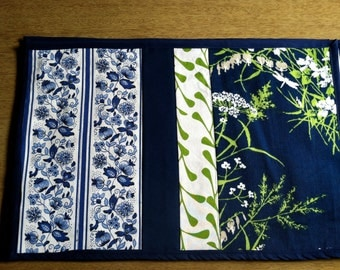 Lime Green and Blue and Leaf Placemat Set