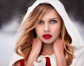 Hooded Velvet Capelet with  graduated hemline - custom color bridal capelet