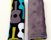Car Seat Strap Covers - Reversible - Groovy Guitars in Lagoon with Gray Minky