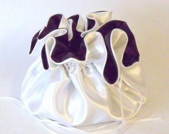 Satin Bridal Dollar Bag , Wedding Purse,  White and Brown,  No Pockets