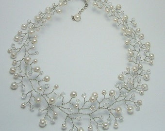 Hand wired bridal necklace